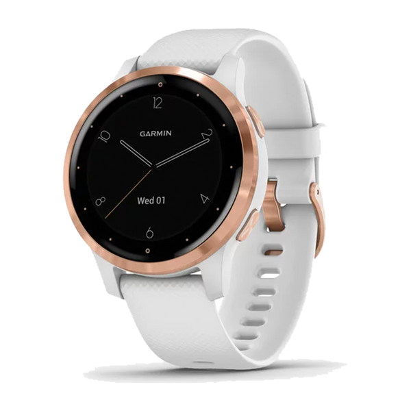 Garmin vivoactive 4S Rose Gold Stainless Steel Bezel with White Case and Silicone Band