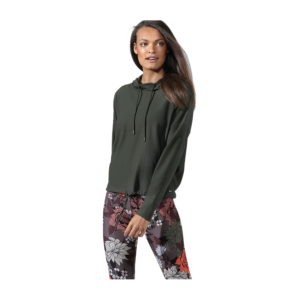 Lorna Jane Women's Adventurer Excel Mesh Hoodie Dark Safari