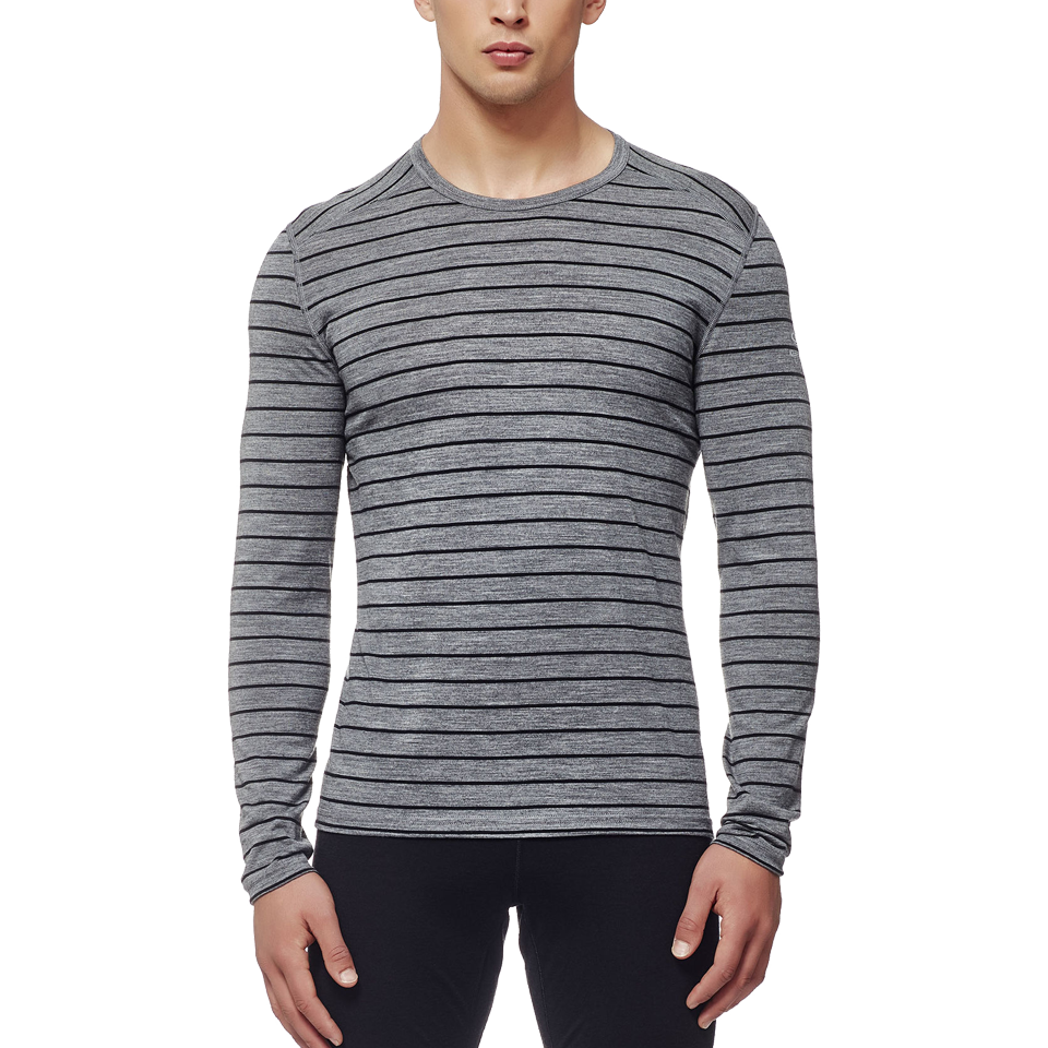 Icebreaker Men's Oasis Long Sleeve Crew Stripe Gritstone