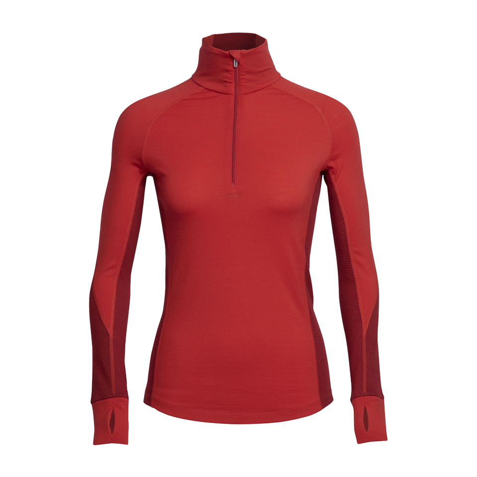 Icebreaker Women's BodyfitZONE Winter Long Sleeve Half Zip Rocket