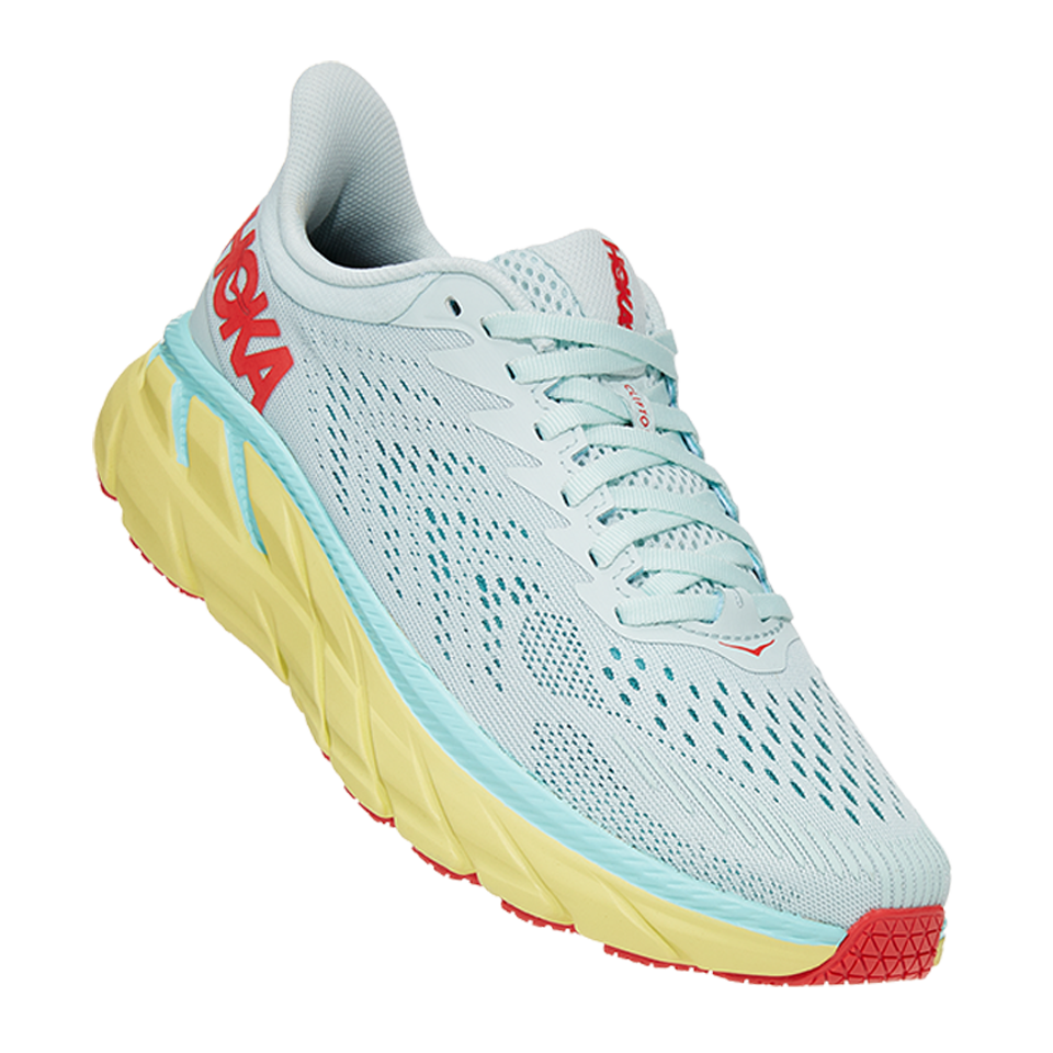 Hoka One One Women's Clifton 7 Morning Mist/Hot Coral