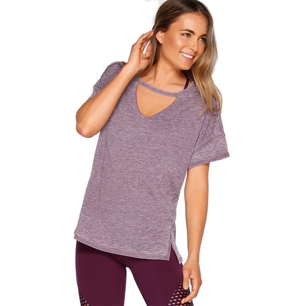 Lorna Jane Women's Meditate Short Sleeve Tee Dark Grape