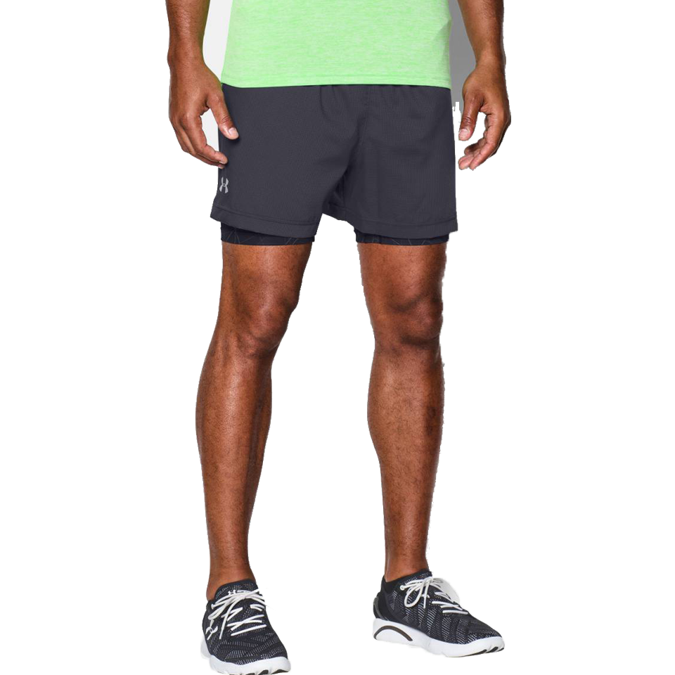 "Under Armour Men's Launch 5"" 2in1 Short Grey"