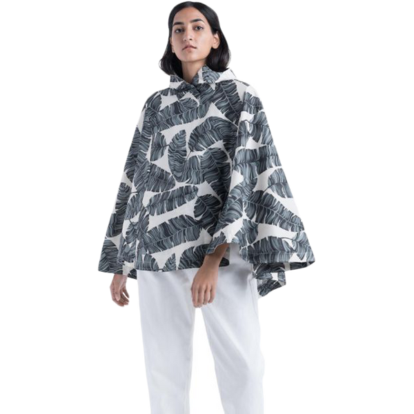 Herschel Women's Poncho Silver Birch Palm
