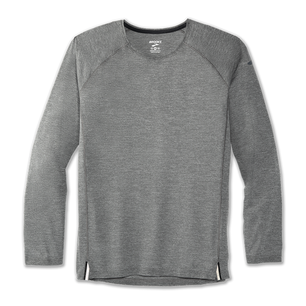 Brooks Men's Ghost Long Sleeve Heather Asphalt