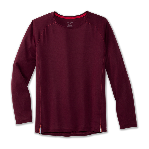 Brooks Men's Ghost Long Sleeve Heather Merlot