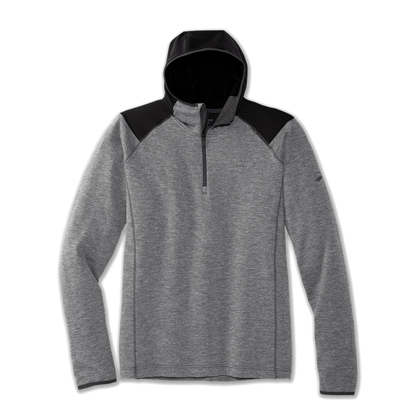 Brooks Men's Notch Thermal Hoodie Heather Asphalt/Black