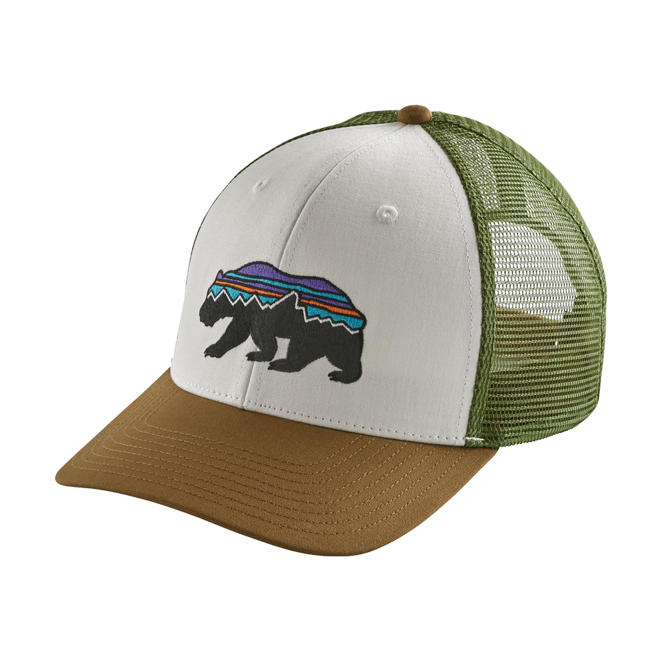 Patagonia Fitz Roy Bear Trucker Hat White With Coriander