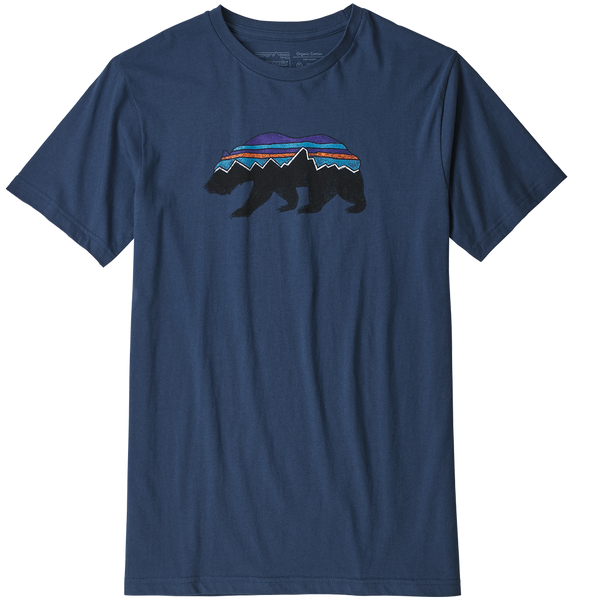Patagonia Men's Fitz Roy Bear Organic T-Shirt Stone Blue
