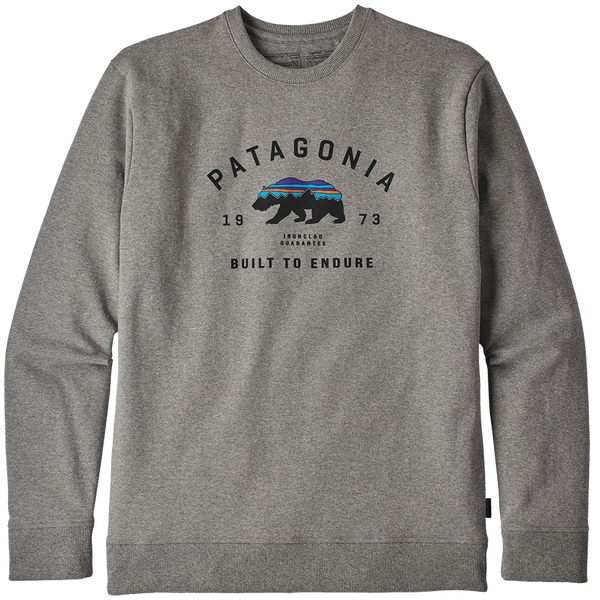 Patagonia Men's Arched Fitz Roy Bear Uprisal Crew Sweatshirt Gravel Heather