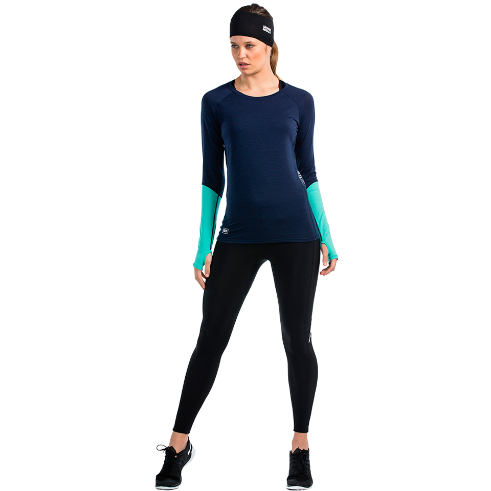 Mons Royale Women's Bella Coola Long Sleeve Navy/Mint