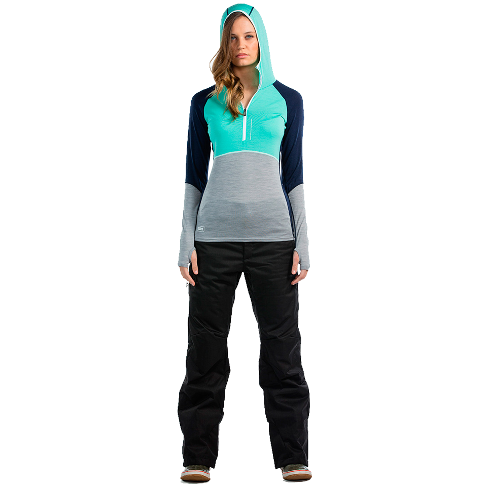 Mons Royale Women's Bella Coola Zip Navy/Mint/Grey Marl