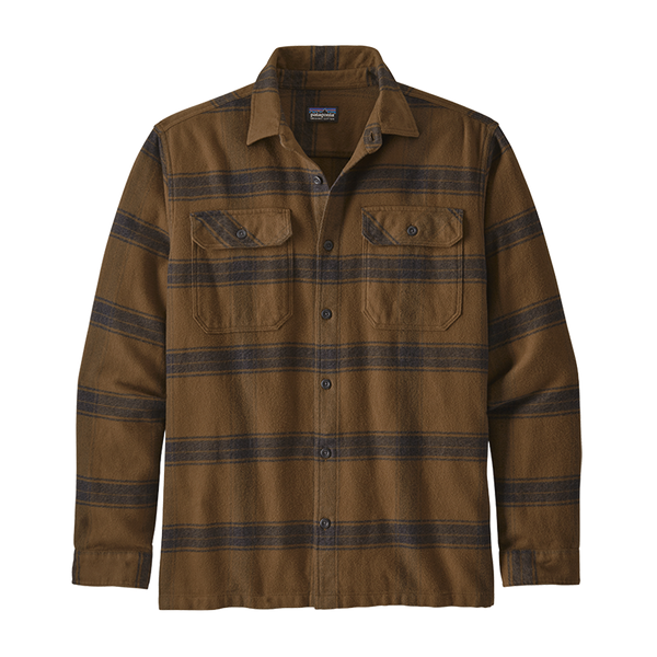 Patagonia Men's Long-Sleeved Fjord Flannel Shirt Owl Brown