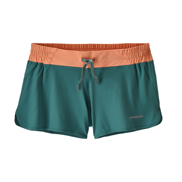 "Patagonia Women's Nine Trails Shorts 4"" Tasmanian Teal w/Peach Sherbet"