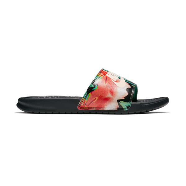 "Nike Women's Benassi ""Just Do It."" Women's Sandals Green Glow/Crimson"