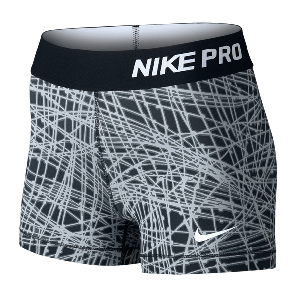 "Nike Women's Pro Cool Tracer 3"" Short Black Print"