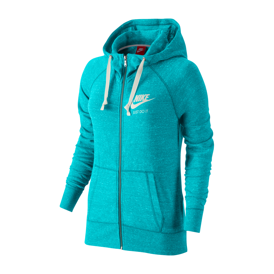 Nike Women's Gym Vintage Full-Zip Hoodie Omega Blue