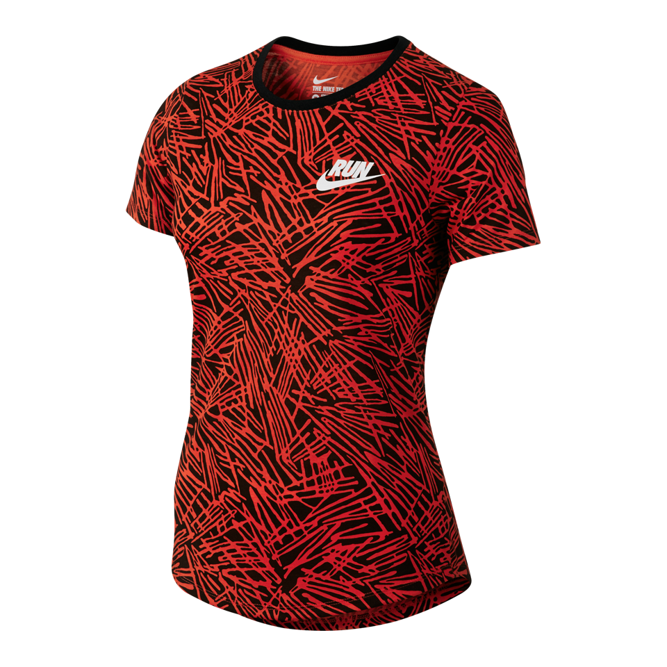 Nike Women's Run P Palm Allover Print Short Sleeve Shirt Light Crimson