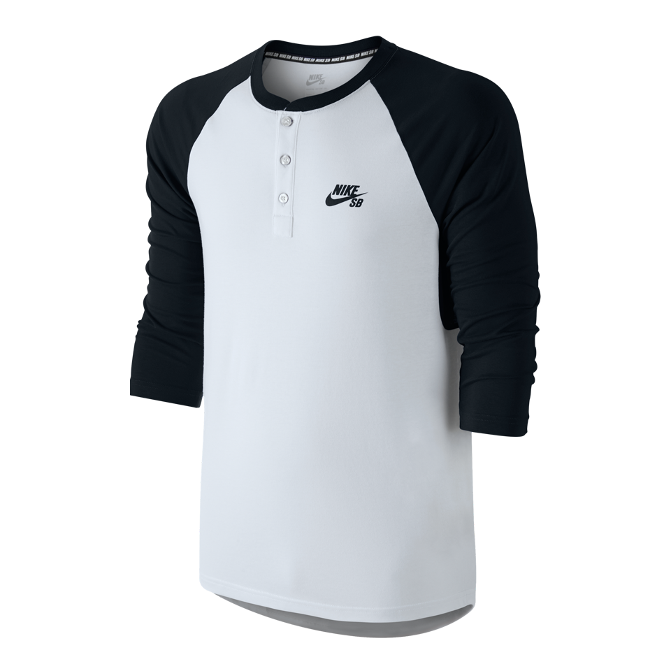 Nike Men's SB 3/4 Sleeve Henley Black