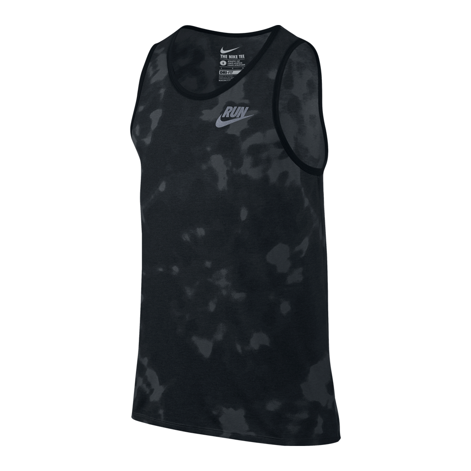 Nike Men's Run Printed Tie Dye Running Tank Wolf Grey