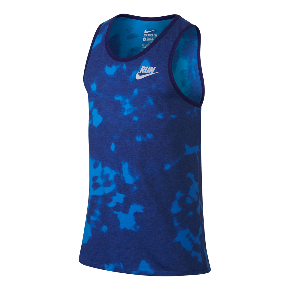 Nike Men's Run Printed Tie Dye Tank Photo Blue