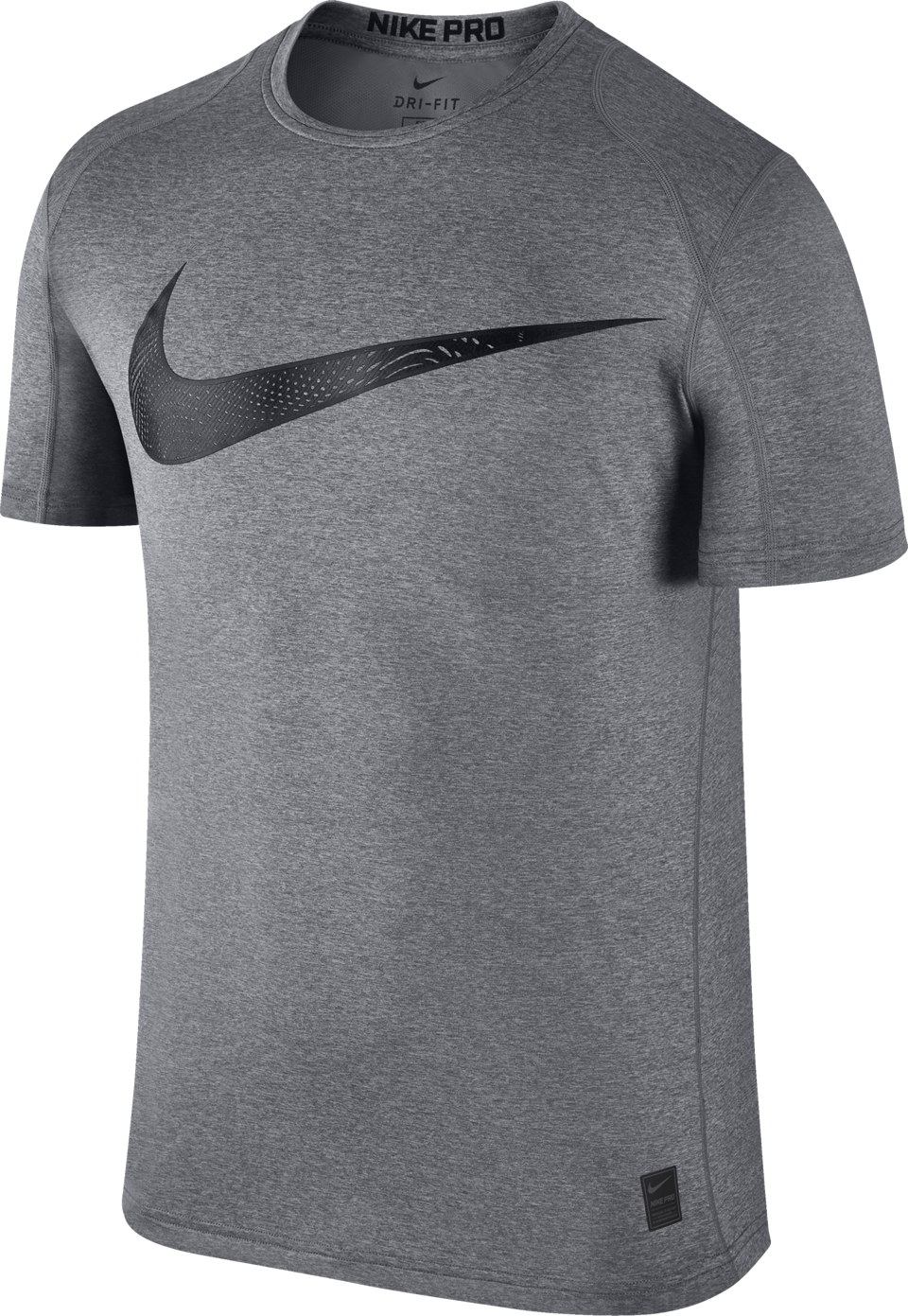Nike Men's Pro Fitted Swoosh Graphic Tee Carbon Heather