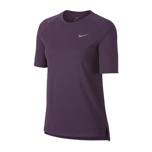 Nike Women's Breathe Tailwind Short Sleeve Running Top Pro Purple