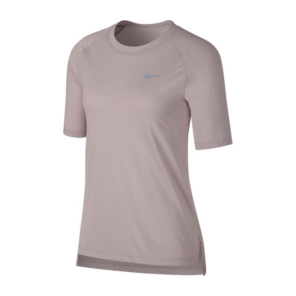 7f61646d Nike Women's Breathe Tailwind Short Sleeve Running Particle Rose