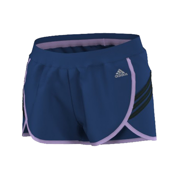 Adidas Women's Ultimate Woven Short 3 Stripe 3 Inch Purple