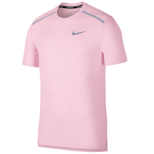 Nike Men's Dri-FIT Miler Short-Sleeve Running Top Pink Foam