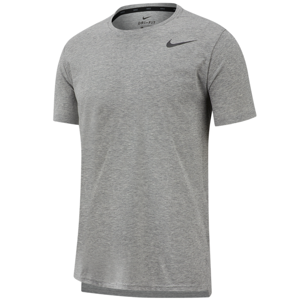 Nike Men's Dri-FIT Breathe Short-Sleeve Training Top Dark Grey Heather