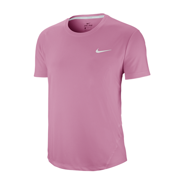 Nike Women's Miler Short-Sleeve Running Top Magic Flamingo