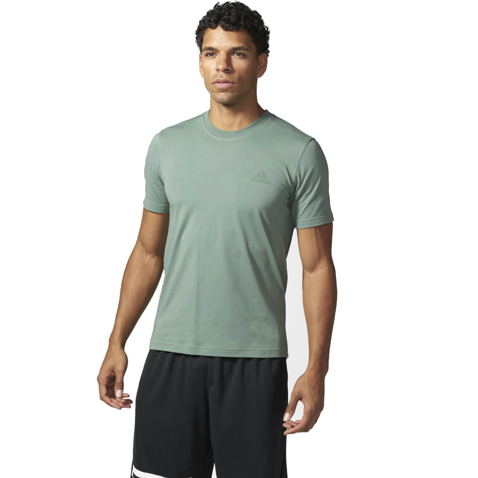 Adidas Men's Triblend Short Sleeve Tee Drop Hem Trace Green