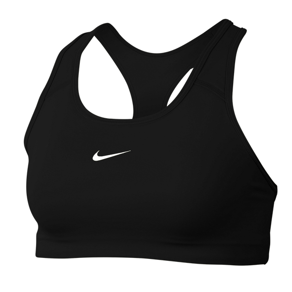 Nike Women's Dri-FIT Swoosh Medium-Support 1-Piece Pad Sports Bra Black AD - BV3636-010 - BLACK - BV3636-010-BLACK