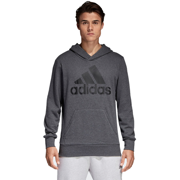 Adidas Men's Essential Linear Pullover Hoodie Dark Grey Heather