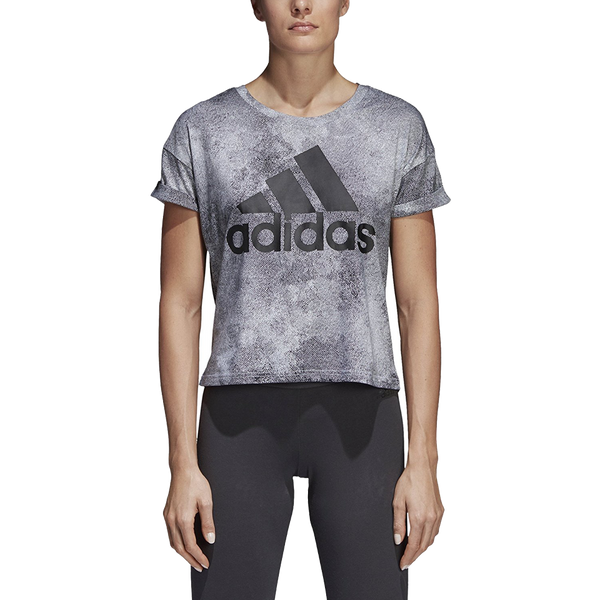 Adidas Women's Essential Alloverprint Tee Grey