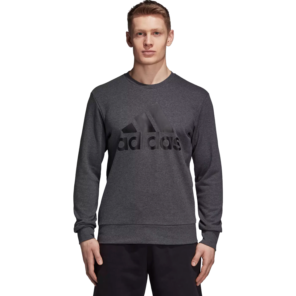 7f46000ffe Adidas Men's Essential Big Logo Crew Dark Grey Heather