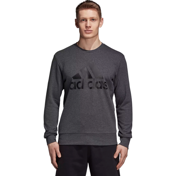 Adidas Men's Essential Big Logo Crew Dark Grey Heather