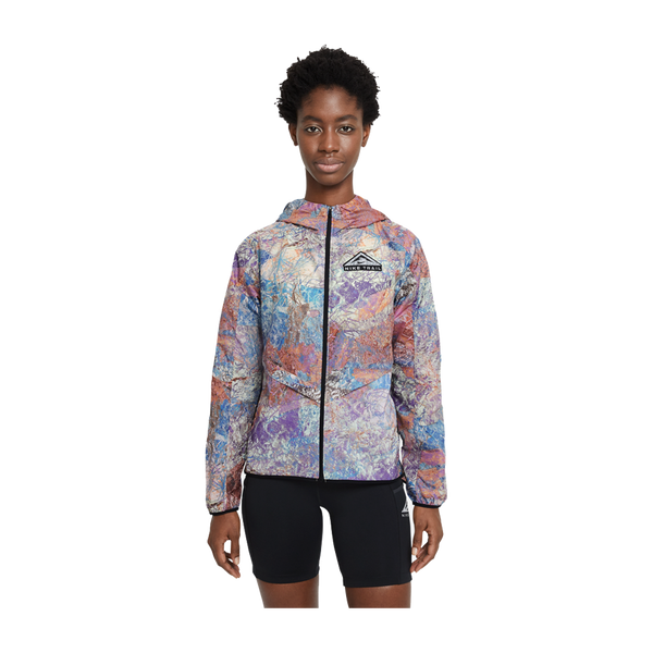 Nike Women's Windrunner Packable Trail Running Jacket Blue Lagoon Print