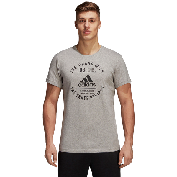 Adidas Men's Emblem Short Sleeve Tee Medium Grey Heather