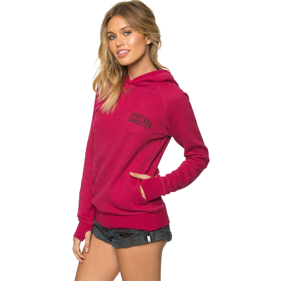 Spiritual Gangster Women's Hamsa Eye Fleece Hoodie Goji Berry