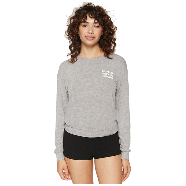 Spiritual Gangster Women's Let's Be Crew Neck Medium Grey Heather