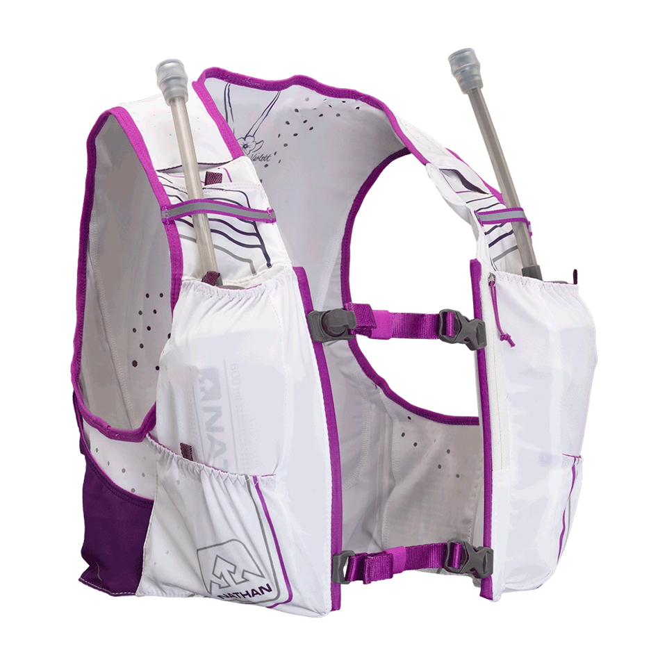 Nathan Women's VaporHowe 2.0 4 Liter Race Vest White/Purple Cactus/Majesty