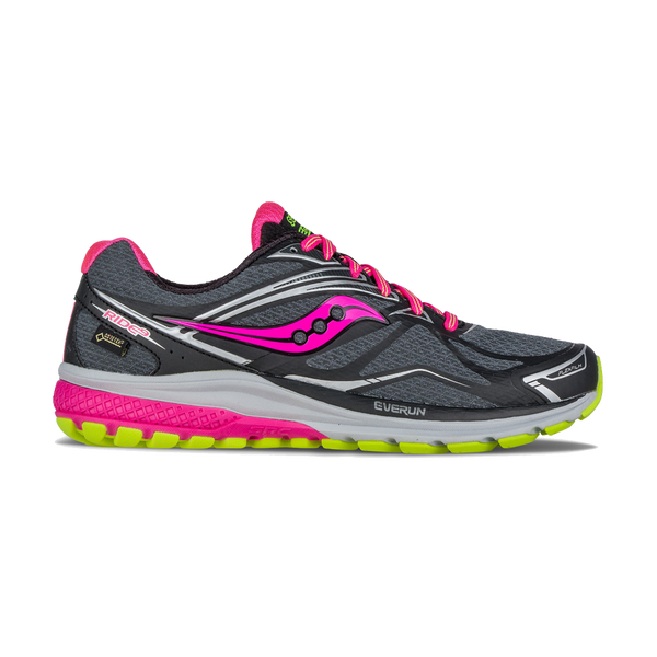 Saucony Women's Ride 9 GTX Black/Grey/VisiPink