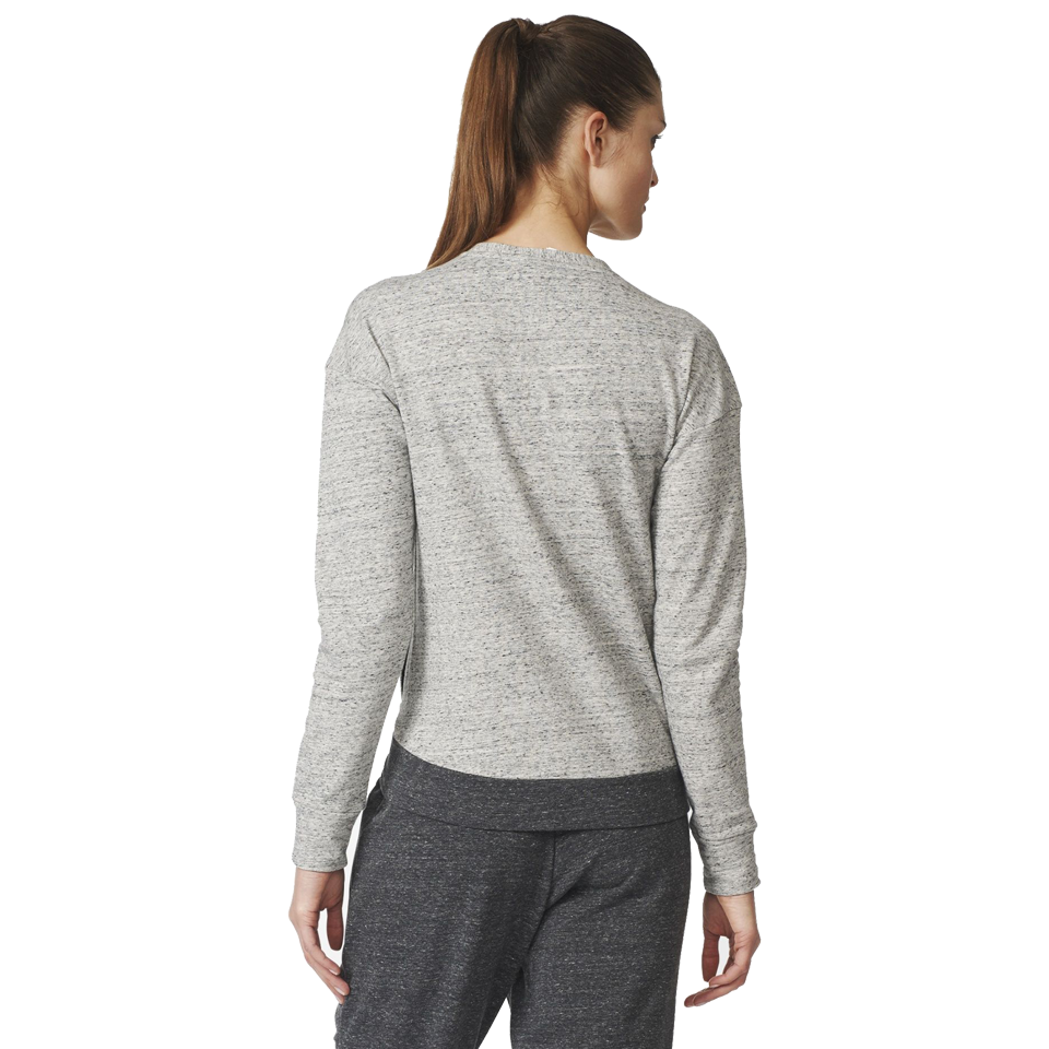 Adidas Women's Cotton Fleece Sweatshirt Pepper Medium Grey