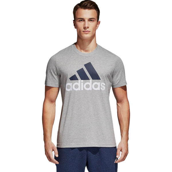 Adidas Men's Essential Linear Tee Medium Grey Heather