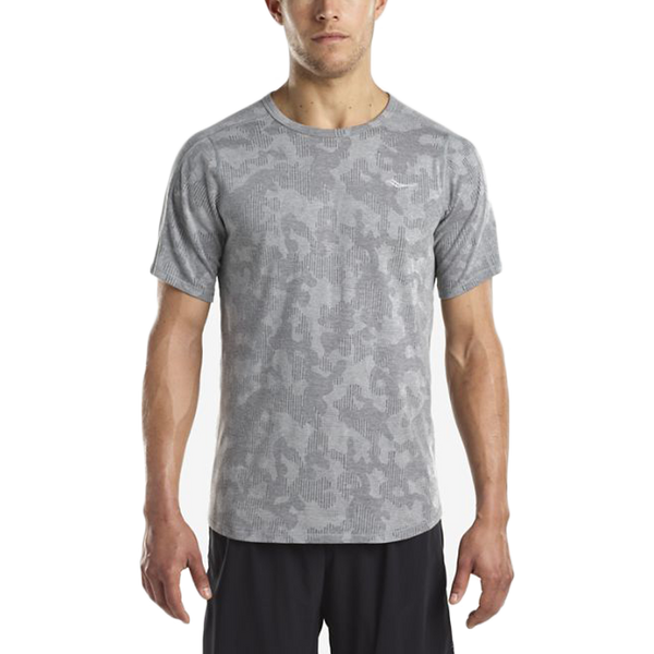 Saucony Men's Negative Split Jacquard Short Sleeve Dark Grey Heather
