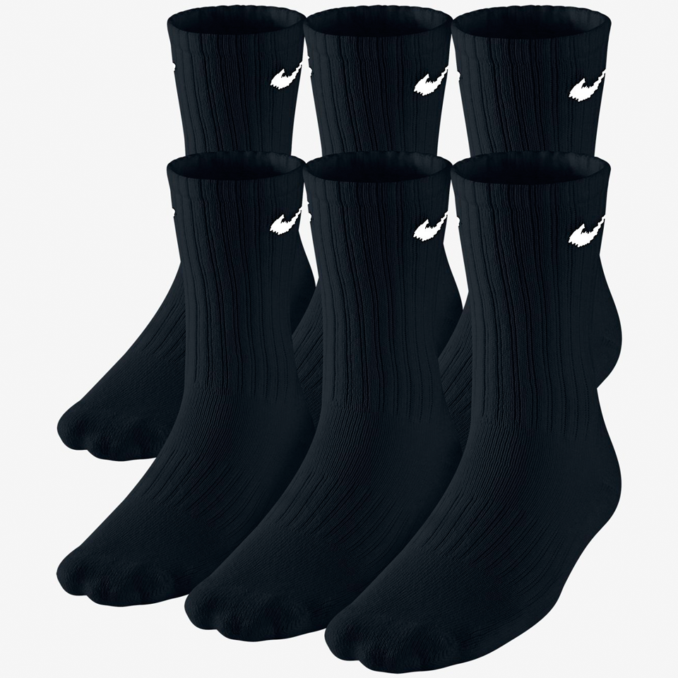 Nike Boys 6 Pack Band Cotton Crew Sock Black
