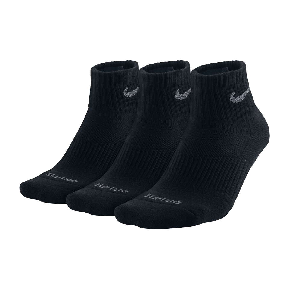 Nike Men's 3 Pack Dri-Fit Cushion Quarter Socks Black