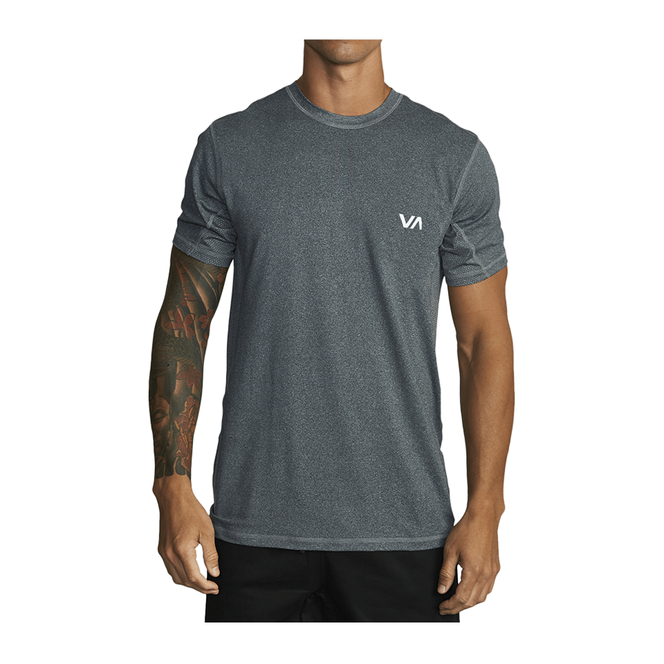 RVCA Men's Sport Vent Short Sleeve Tee Charcoal Heather
